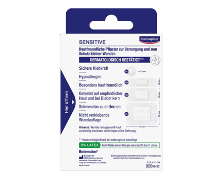 Hansaplast Pflaster Sensitive Rückseite