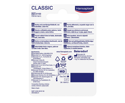 Hansaplast Fixierpflaster Classic Rückseite
