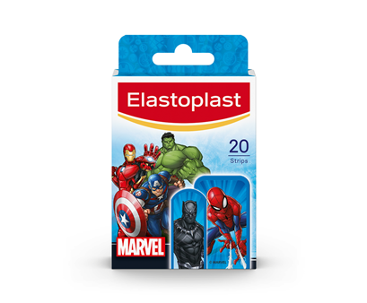 Packshot of Elastoplast Marvel plasters