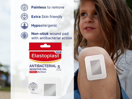 Elastoplast Antibacterial Sensitive XXL plasters key benefits