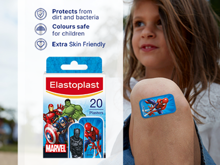 Elastoplast MARVEL plasters key benefits