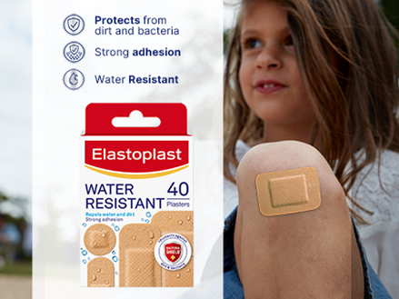Elastoplast Water Resistant plasters key benefits